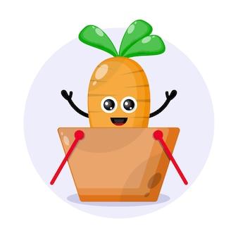 Logo słodkiego koszyka na zakupy z marchwi