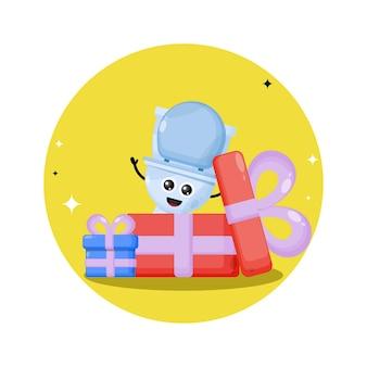Logo słodkiej postaci toalety na prezent