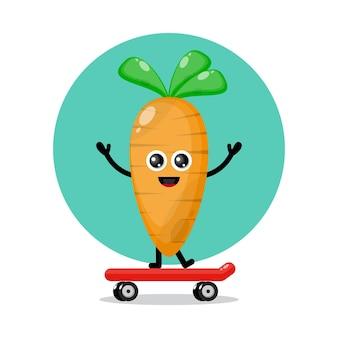 Logo słodkiej postaci z marchewki na deskorolce