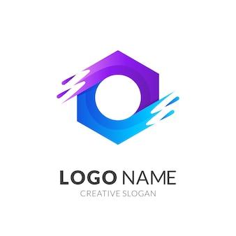 Logo słodkiej wody, sześciokąt i woda, logo kombinacji z fioletowym i niebieskim stylem 3d