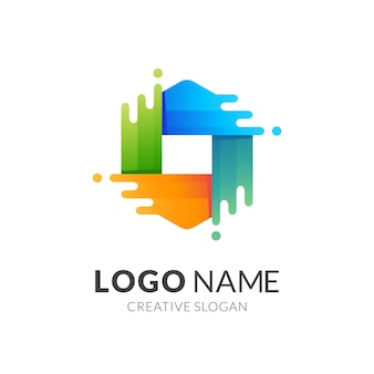 Logo słodkiej wody, sześciokąt i woda, logo kombinacji z kolorowym stylem 3d