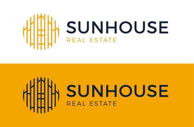 Logo słońca domu. znak ikona budynku nieruchomości. godło symbol domu słonecznego w koło.