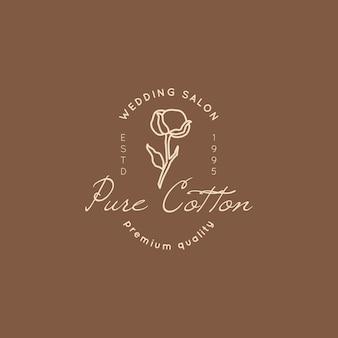 Logo ślubne w minimalistycznym modnym stylu. liner kwiatowy etykiety i odznaki-ikona wektorowa, naklejka, pieczęć, etykieta z kwiatem bawełny do salonu ślubnego i sukien ślubnych