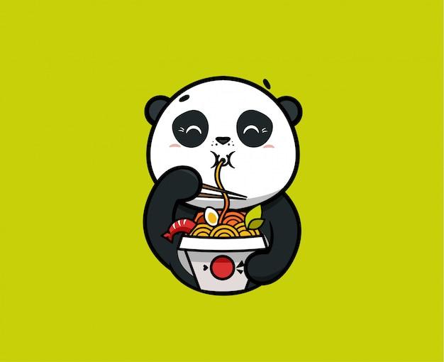 Logo śmieszna panda zjada makaron. logotyp żywności, słodkie zwierzę