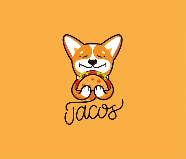 Logo śmieszne corgi zjada taco. ładny pies, postać z kreskówki, logo żywności
