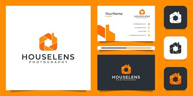 Logo soczewki domu i projekt wizytówki