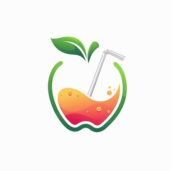 Logo soku jabłkowego z koncepcją gradientu kolorów