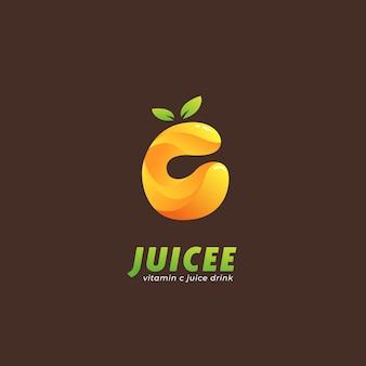 Logo soku z pomarańczowej cytryny witaminy c w ikonie w kształcie litery c