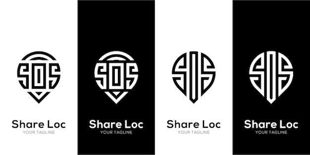 Logo sos z minimalistyczną lokalizacją i koncepcją miejsca