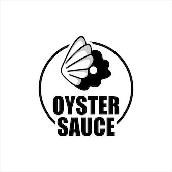 Logo sosu ostrygowego etykieta i naklejka retro o smaku owoców morza