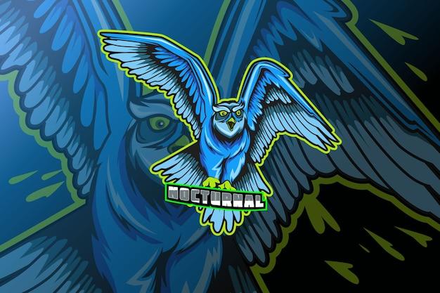 Logo sowa dla szablonu klubu sportowego lub zespołu