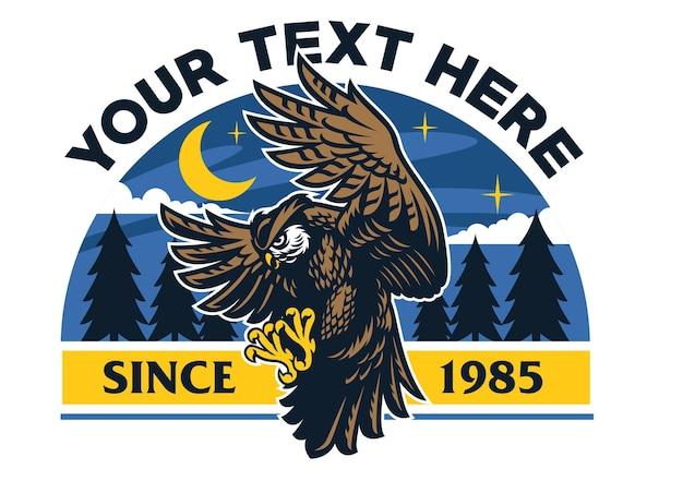 Logo sowy z nocnym niebem