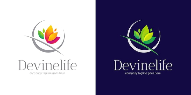 Logo spa z szablonem logo kolorowych liści w dwóch wariantach kolorystycznych