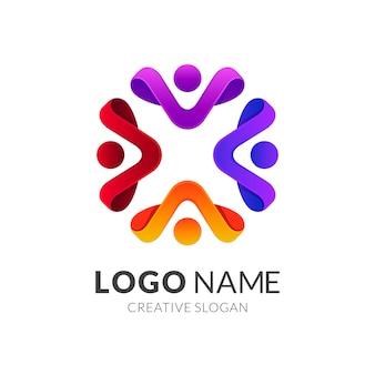 Logo społeczności ludzkiej, grupa ludzi / praca zespołowa