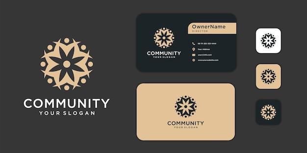 Logo społeczności rodzinnej pracy zespołowej i inspiracja do projektowania wizytówek