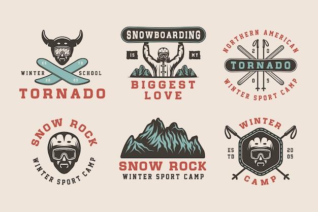 Logo sportów zimowych, odznaki, emblematy