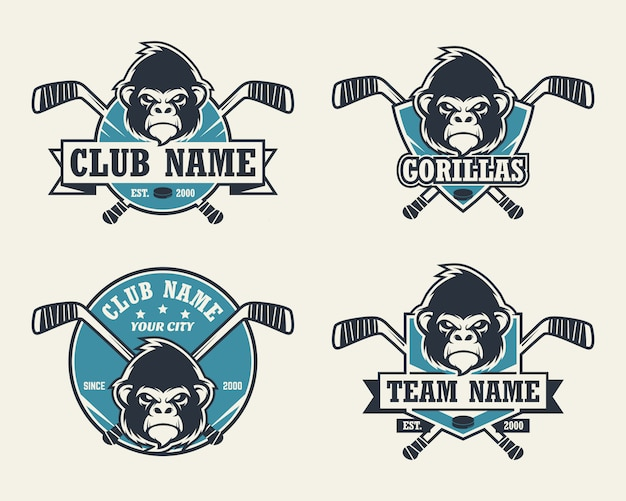 Logo sportowe głowy goryla. zestaw logo hokeja.
