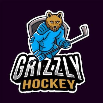 Logo sportowe hokeja grizzly