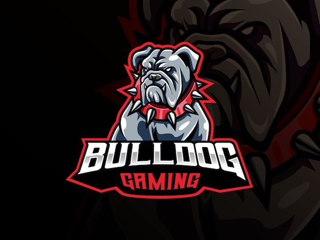 Logo sportowe maskotka buldog. logo maskotki głowy psa. maskotka dzikiego buldoga dla drużyny e-sportowej.