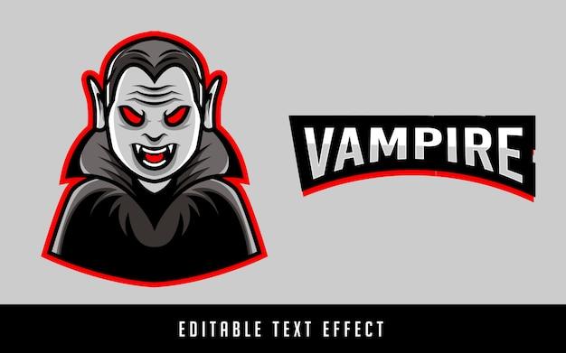 Logo sportowe wampirów z edytowalnym tekstem