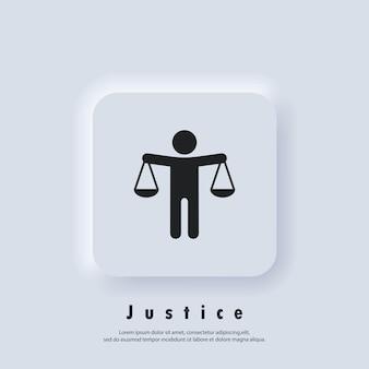 Logo sprawiedliwości. ikona skali. ikona etyki. ikony prawa. wektor. ikona interfejsu użytkownika. biały przycisk sieciowy interfejsu użytkownika neumorphic ui ux. neumorfizm