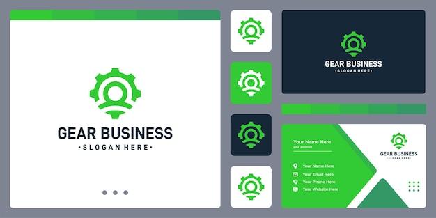 Logo sprzętu i logo ludzi. szablon projektu wizytówki.