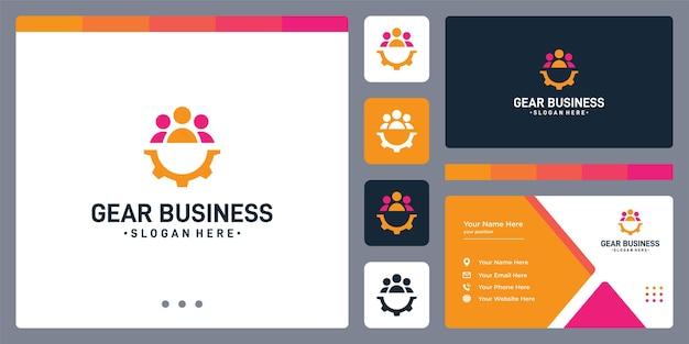 Logo sprzętu i logo pracy zespołowej. szablon projektu wizytówki.