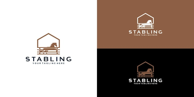 Logo stadniny koni w stylu vintage dla zachodniej wsi projekt logo retro wiejskiej farmy