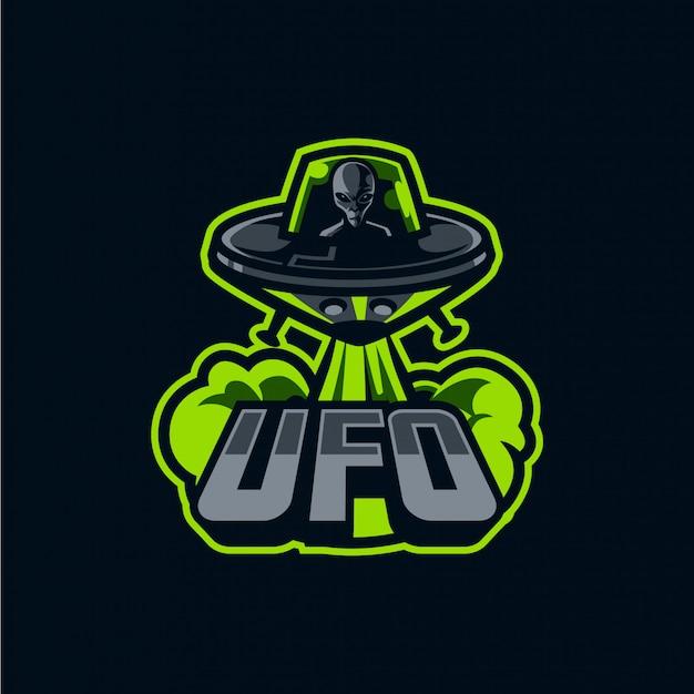 Logo statku kosmicznego i alien maskotka dla sportu i e-sportu na ciemnym tle