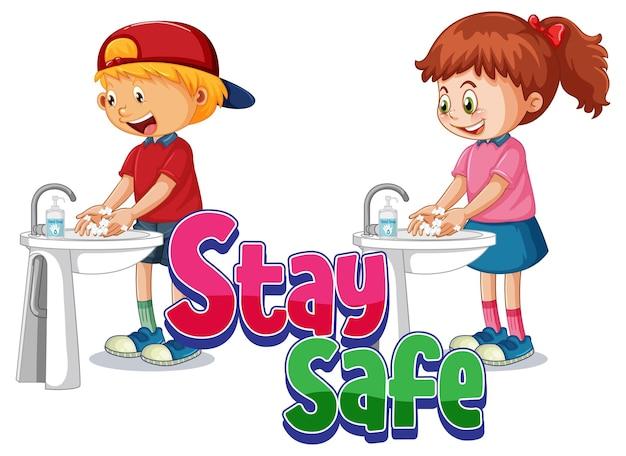Logo stay safe z dwójką dzieci myjących ręce mydłem na białym tle