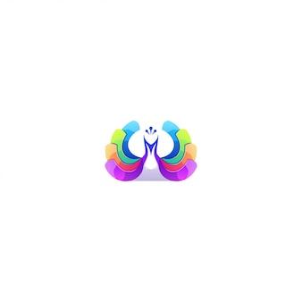 Logo streszczenie kolor pawia