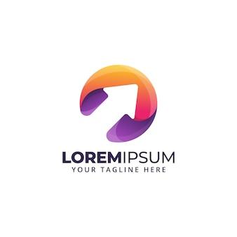 Logo streszczenie kolorowy kształt strzałki dla logistyki, wysyłki, szablon płatności