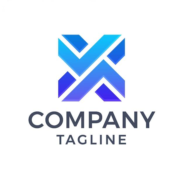 Logo streszczenie nowoczesnej litery x niebieski gradient gradientu
