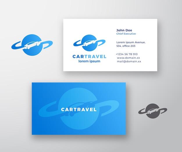 Logo streszczenie podróży samochodem i wizytówki