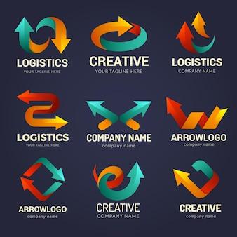 Logo strzałek. symbole tożsamości biznesowej ze stylizowanymi strzałkami kierunkowymi kształtuje zestaw wektorów wizualizacji prędkości ruchu. ilustracja strzałka logo korporacyjnego, logistyczna firma biznesowa
