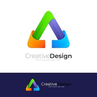 Logo strzałki i trójkąt kolorowe, abstrakcyjne logo z kolorowym wzorem