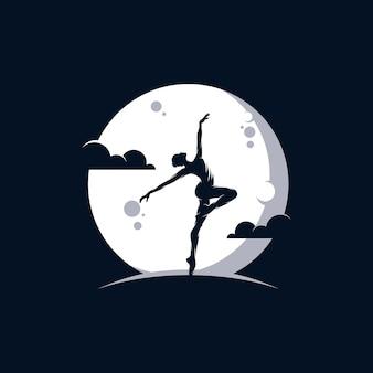 Logo studia baletu lub tańca na księżycu