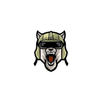 Logo stylu armii głowy psa pełny kolor