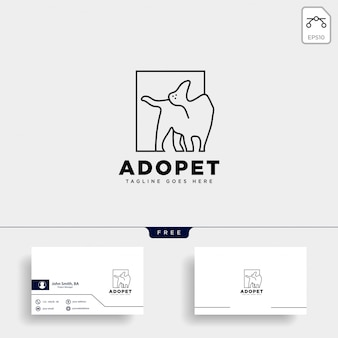 Logo stylu linii pies zwierząt domowych