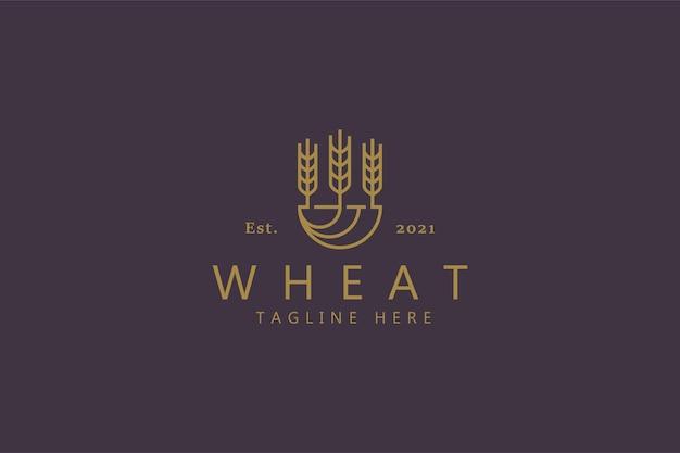 Logo stylu naturalnego wzrostu pszenicy. żywność zdrowe ziarno produkt ekologiczny.