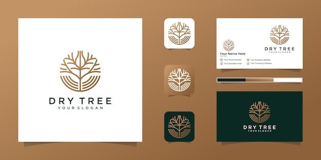 Logo suchego drzewa. cechy drzewa. to logo jest dekoracyjne, nowoczesne, czyste i proste. i wizytówkę