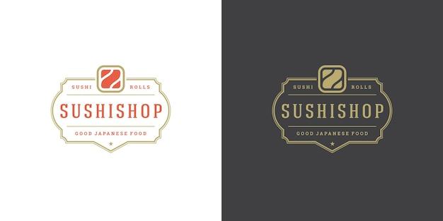 Logo sushi i znaczek restauracji japońskiej żywności