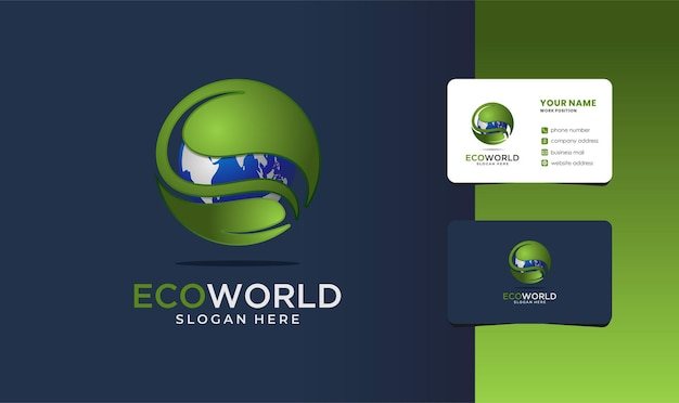 Logo świata ekologicznego z projektem wizytówki.