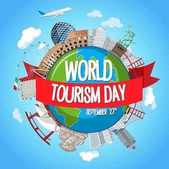 Logo światowego dnia turystyki z elementami słynnych atrakcji turystycznych