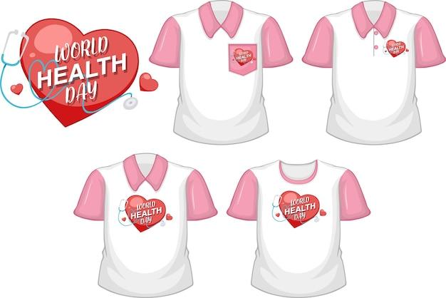 Logo światowego dnia zdrowia z zestawem różnych koszul na białym tle