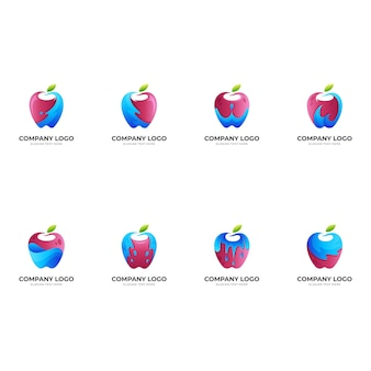Logo świeżego jabłka, jabłko i woda, logo kombinacji z kolorowym stylem 3d