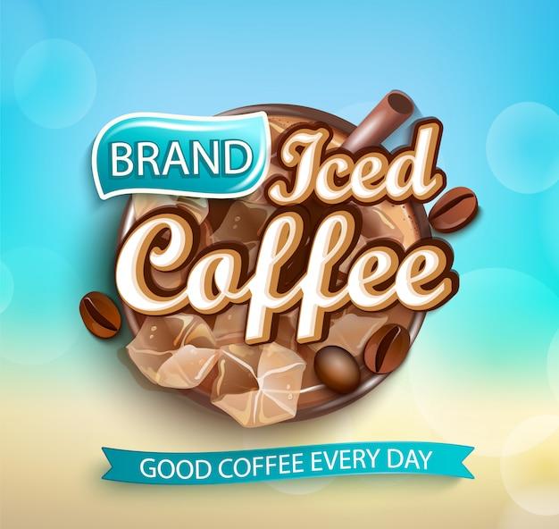 Logo świeżej kawy mrożonej na tle bokeh.