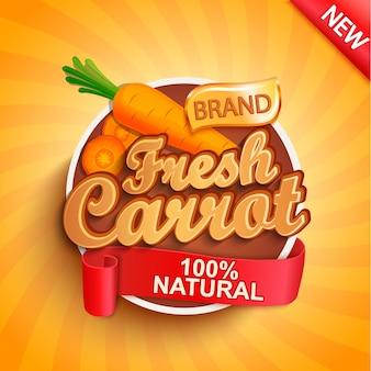 Logo świeżej marchwi, etykieta lub naklejka.