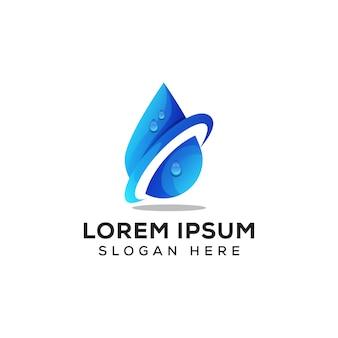 Logo świeżej wody, wektor logo kropla wody