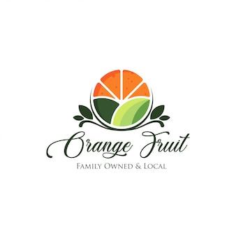 Logo świeżych owoców pomarańczy